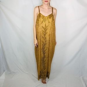 Vintage Beaded Gown Maxi Dress Plus Size Glamour